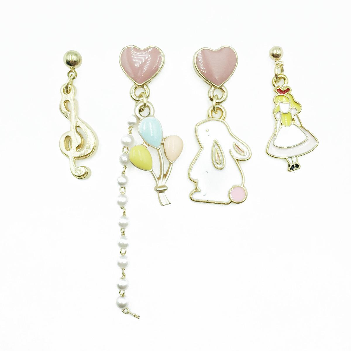 韓國 愛麗絲 兔子 氣球 愛心 珍珠 音符 四入 垂墜感 耳針式耳環