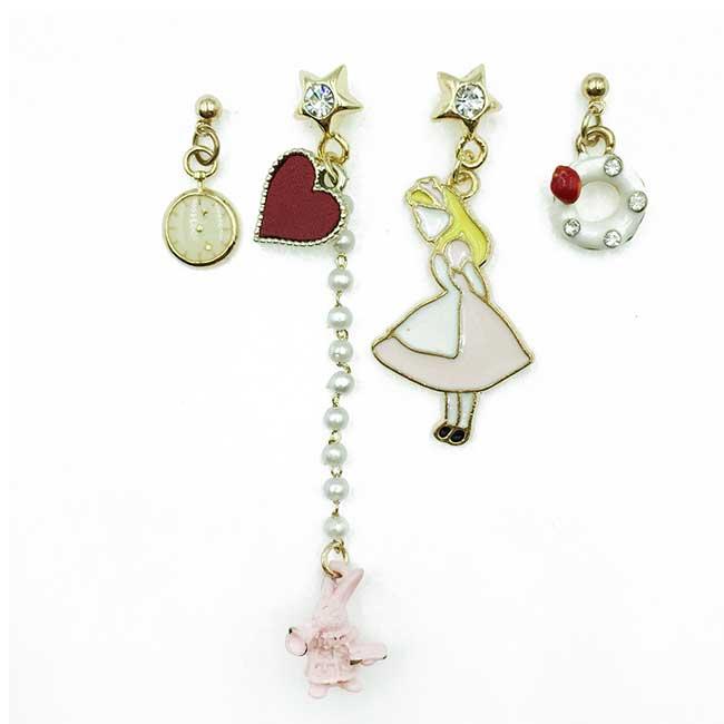 韓國 愛麗絲 懷錶 水鑽星星 珍珠 愛心 四入組 垂墜感 耳針式耳環