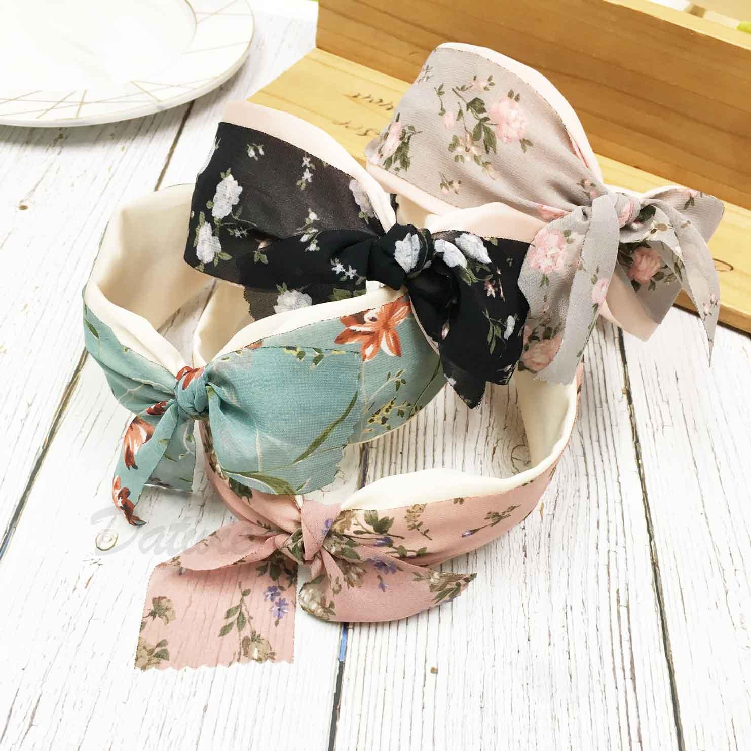韓國 蝴蝶結 花花 雙層 蝴蝶結 4色 髮箍 頭箍