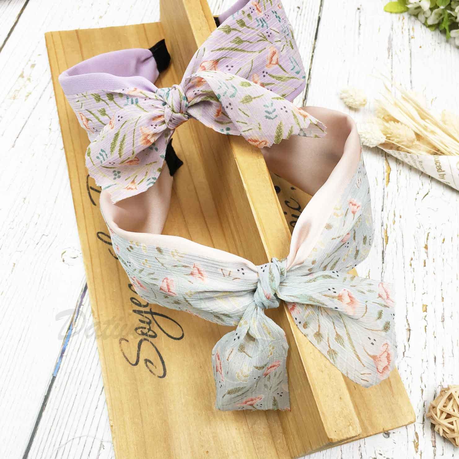 韓國 雙層紗 花花 蝴蝶結 2色 髮箍 頭箍