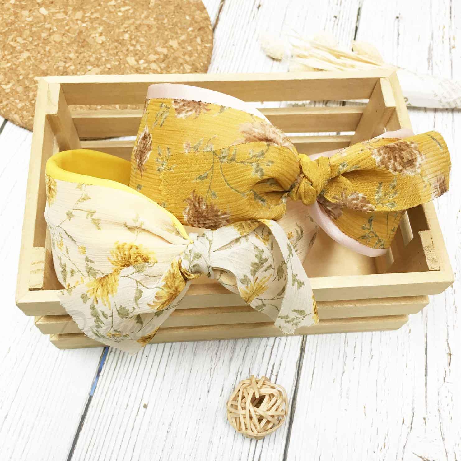 韓國 蝴蝶結 雙層紗 花花 兩色 頭箍 髮箍