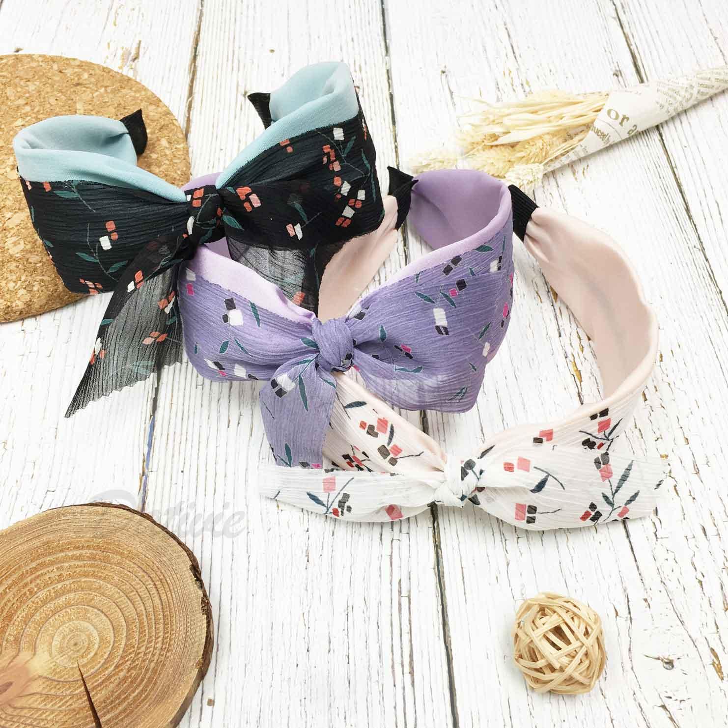 韓國 蝴蝶結 紗質 花葉 3色 髮箍 頭箍