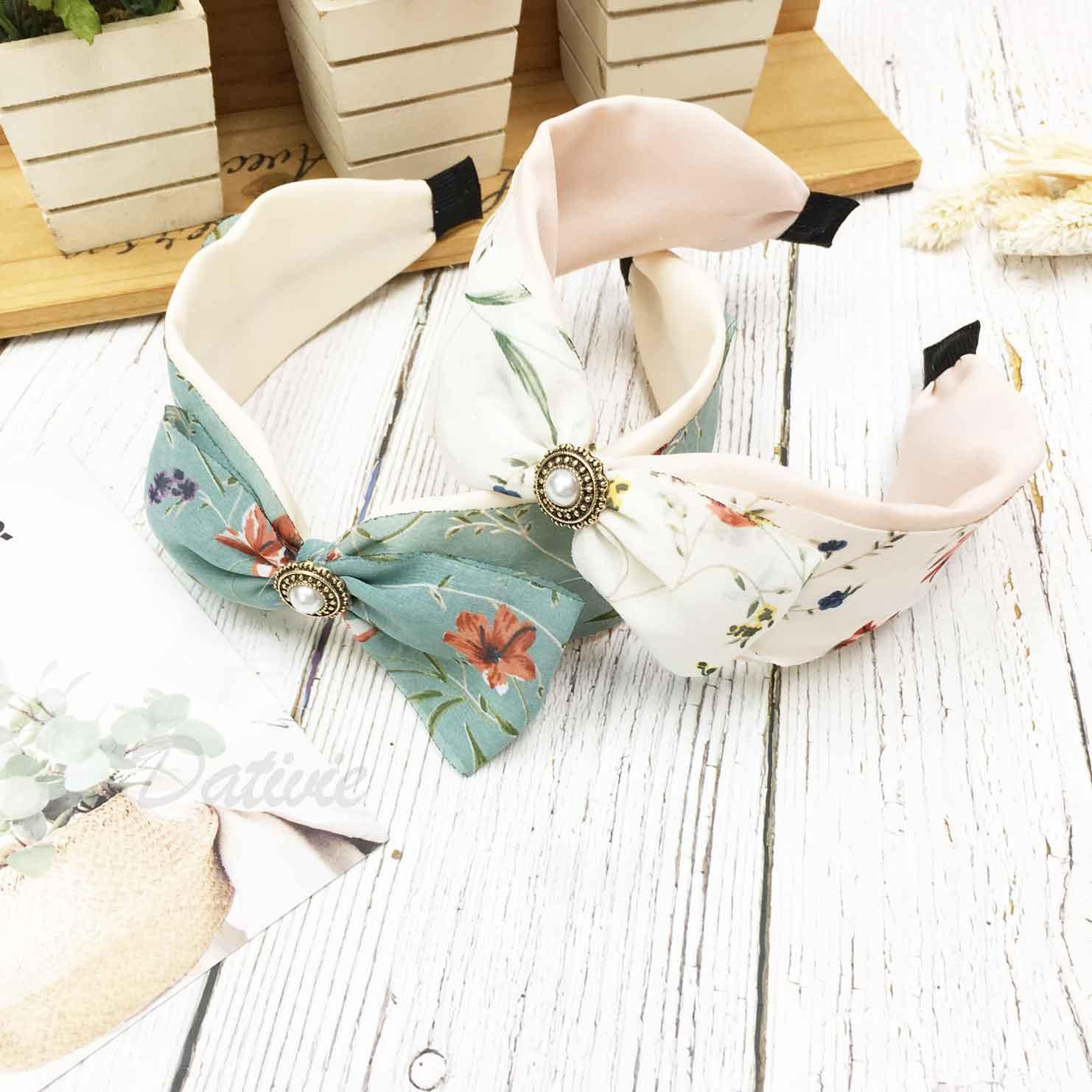 韓國 花花 蝴蝶結 珍珠 復古 髮箍 頭箍