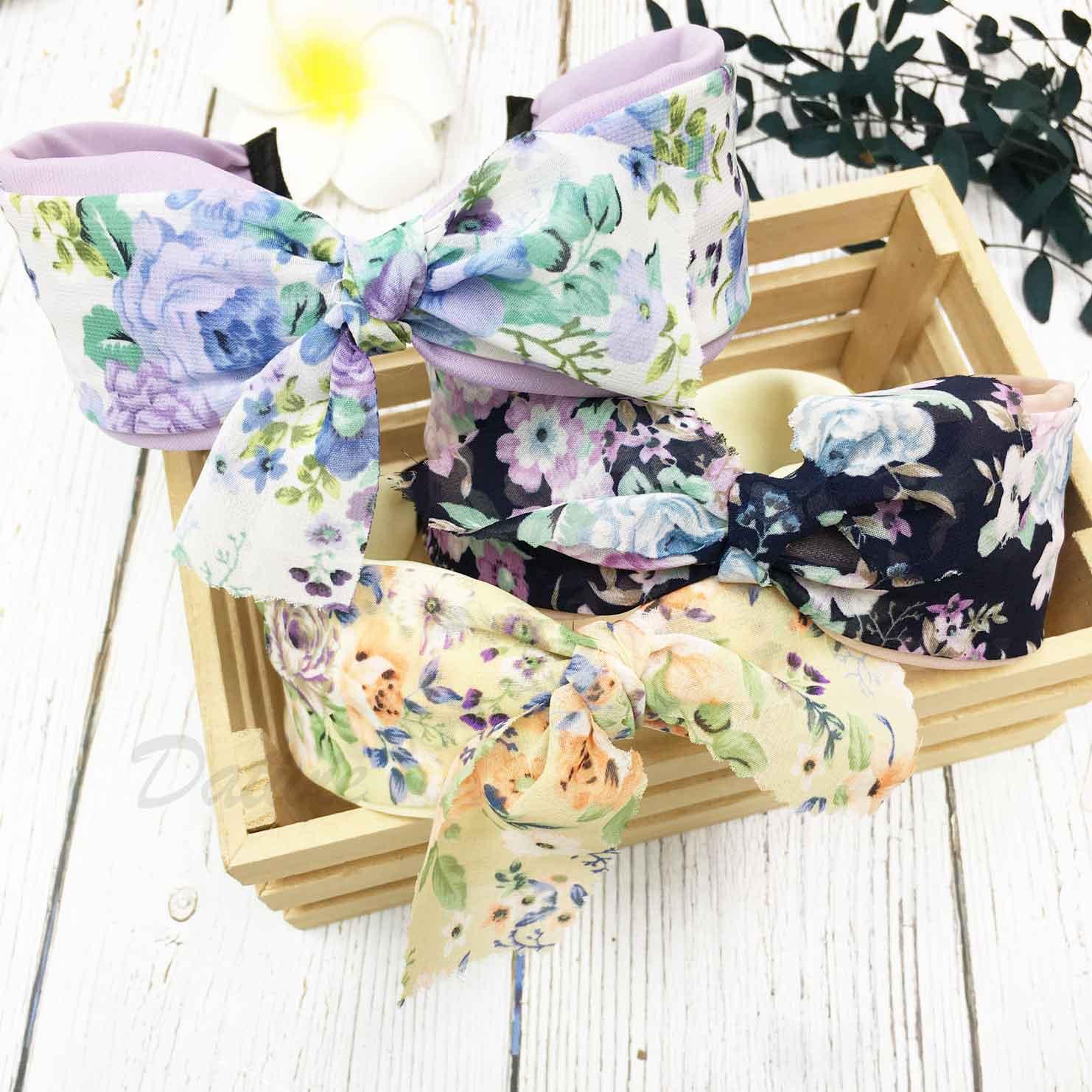 韓國 碎花 蝴蝶結 三色 髮箍 頭箍