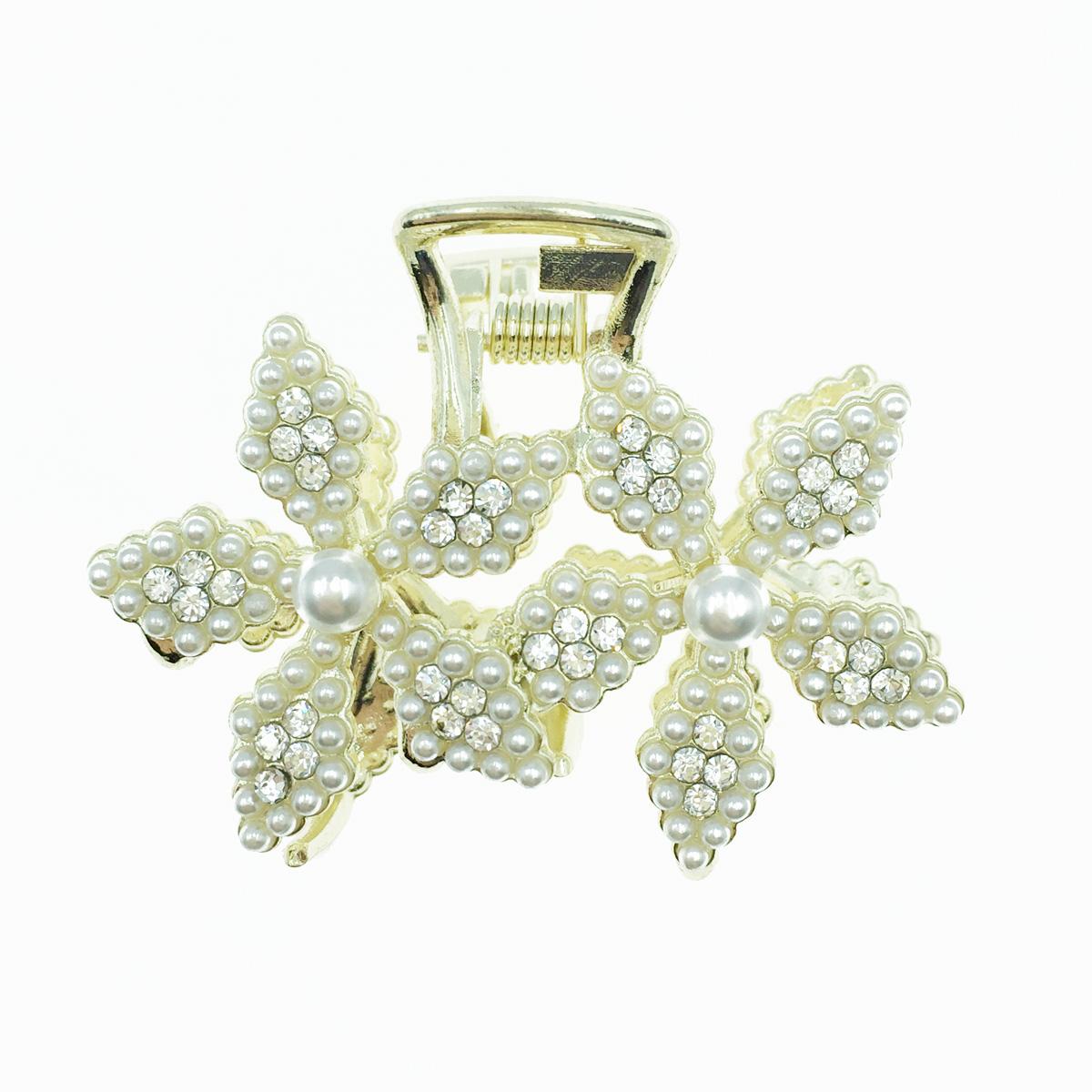 韓國 雙花 珍珠 水鑽 髮飾