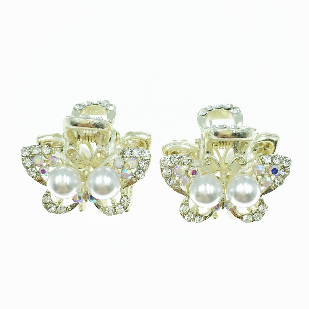 韓國 蝴蝶 水鑽 珍珠 兩入組 小抓夾 髮飾