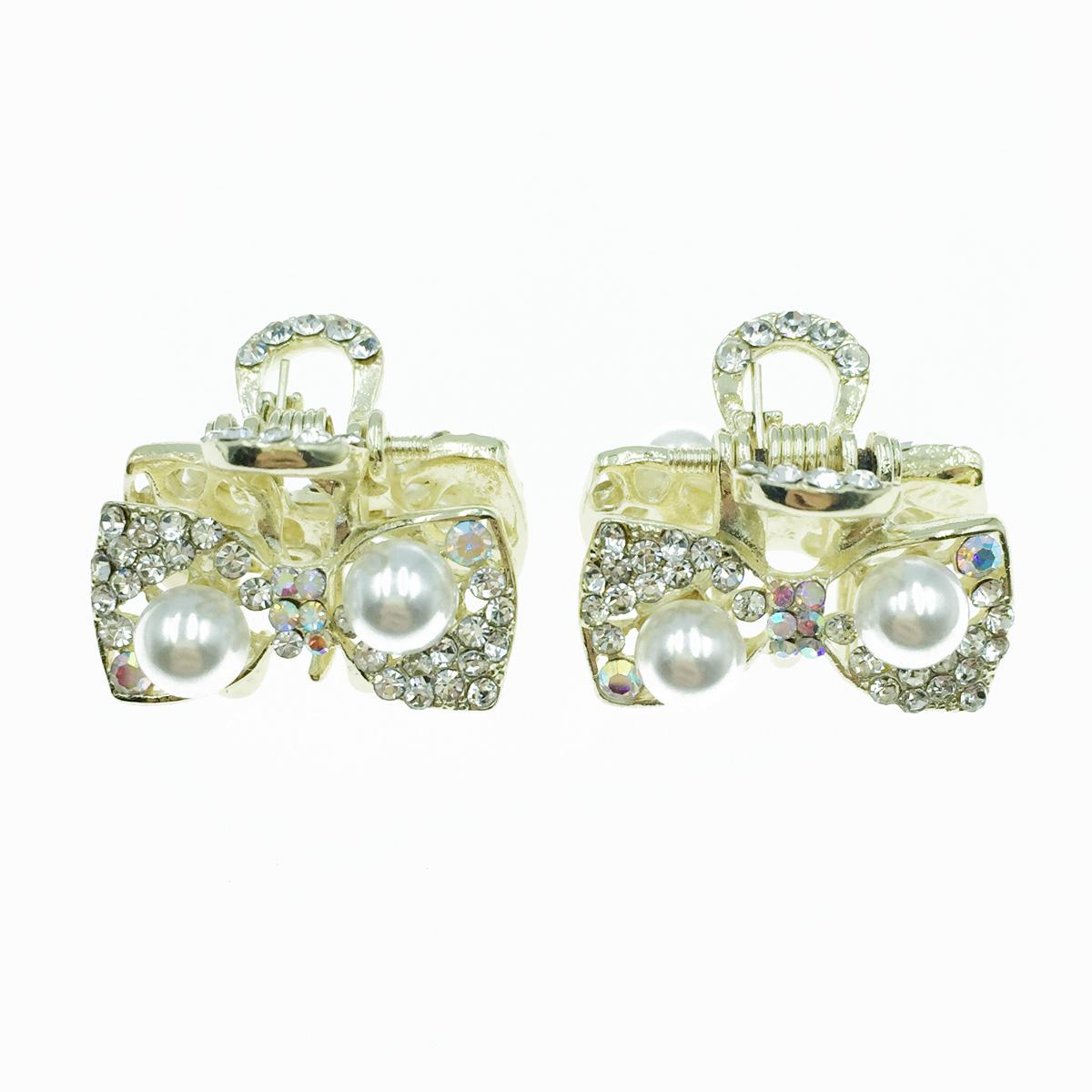 韓國 水鑽蝴蝶結 珍珠 兩入組 小抓夾 髮飾