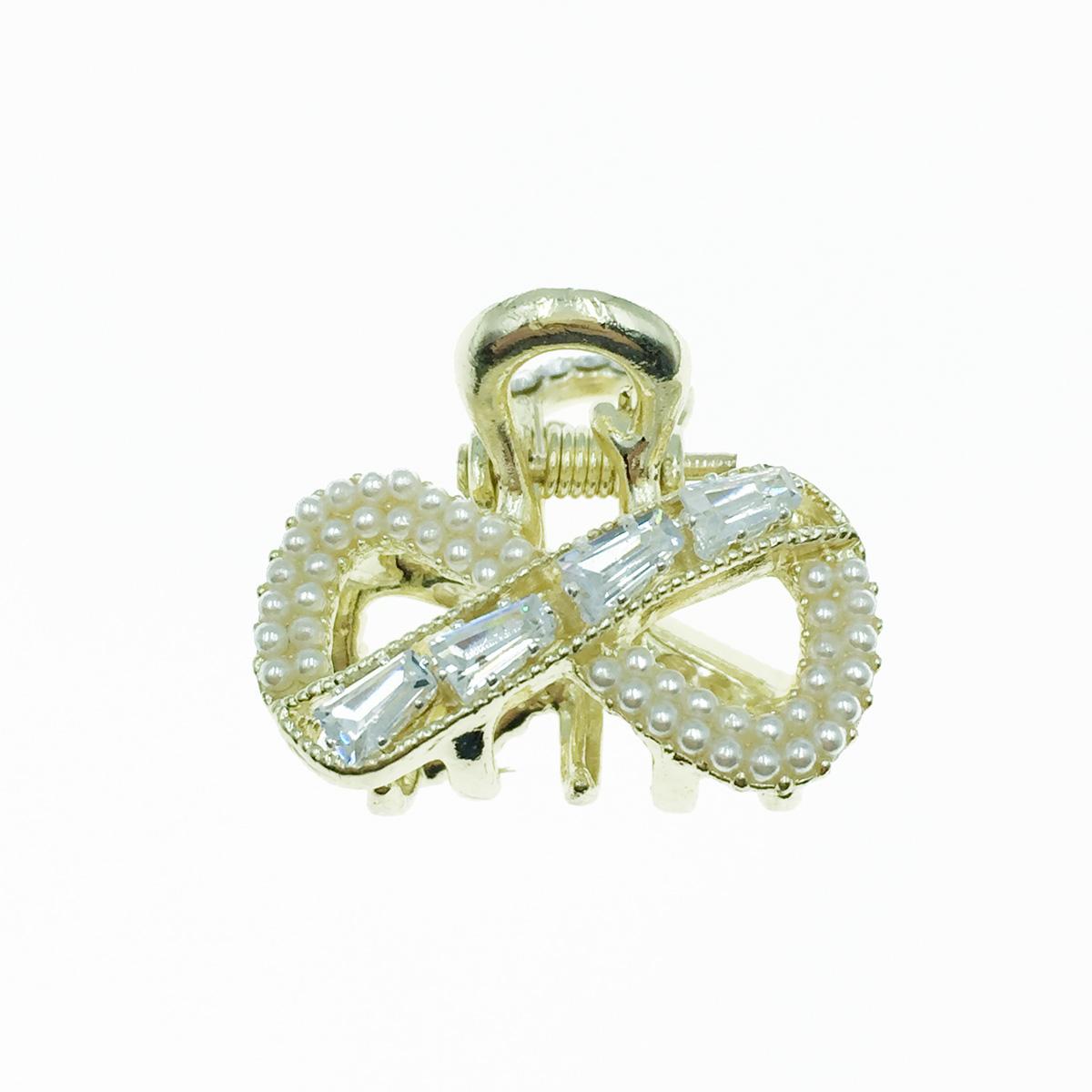 韓國 無限符號 蝴蝶結 水鑽 珍珠 髮飾 小抓夾