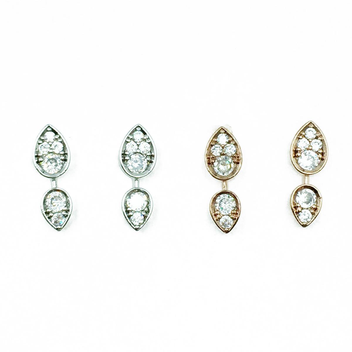 韓國 925純銀 水鑽 兩色 明星款飾品 耳針式耳環