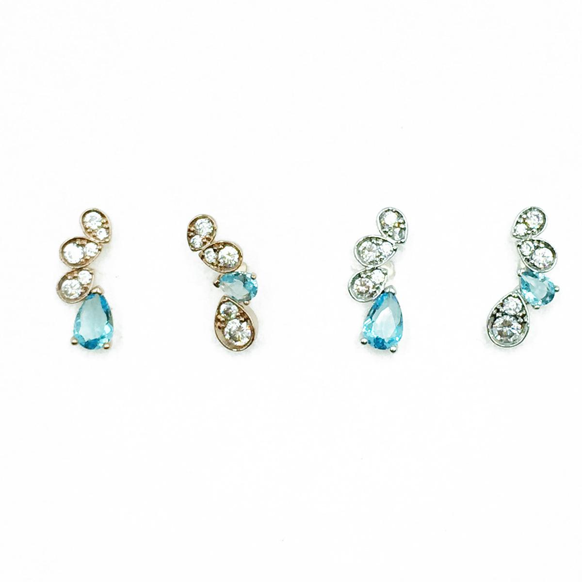 韓國 925純銀 藍鑽 水滴 明星款飾品 耳針式耳環
