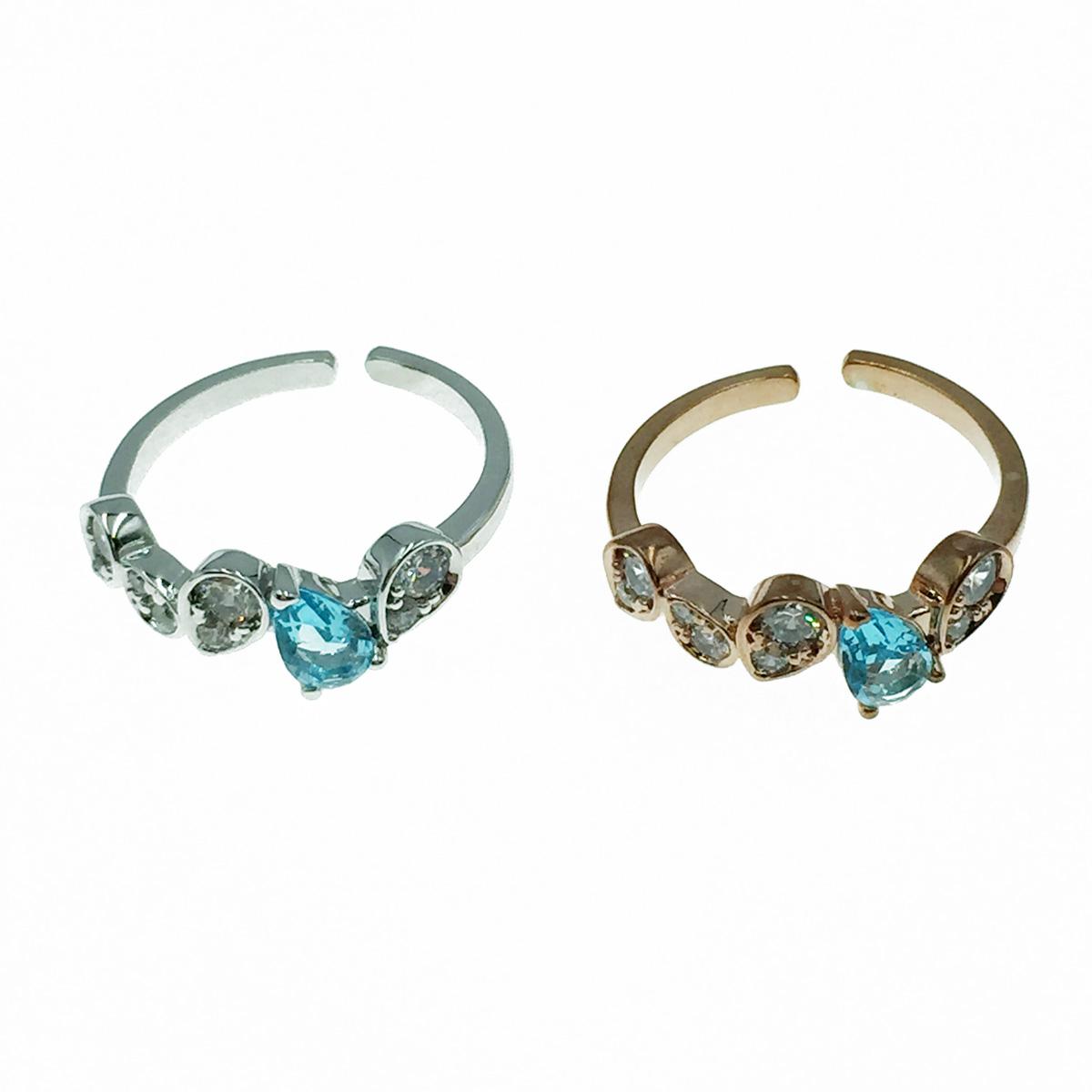 韓國 藍鑽 明星款飾品 可調式 戒指