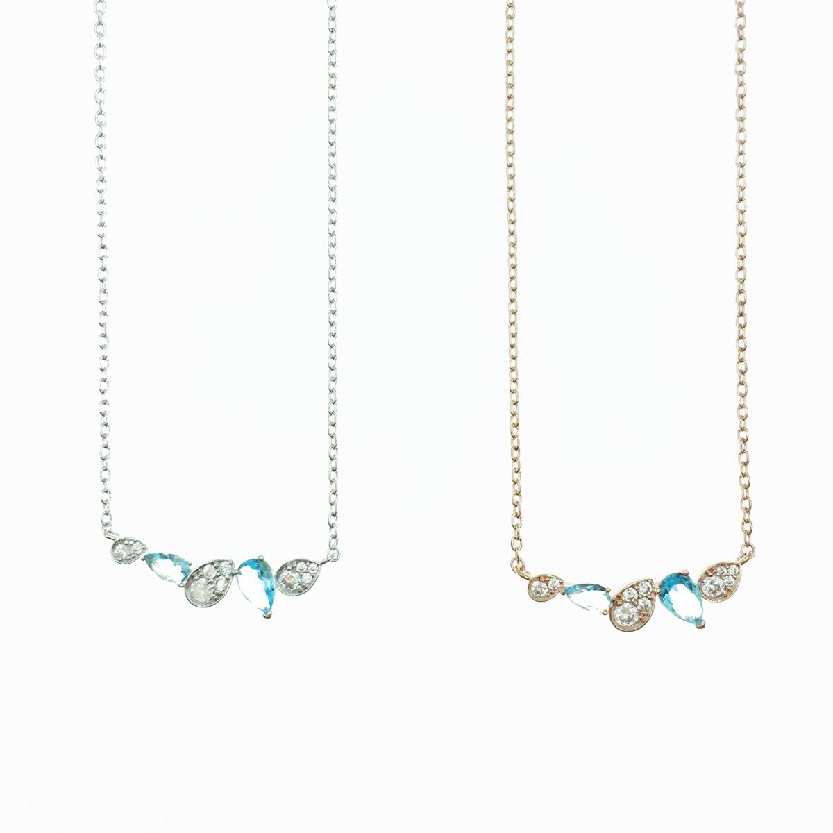 韓國 藍水鑽 2色 明星款飾品 項鍊