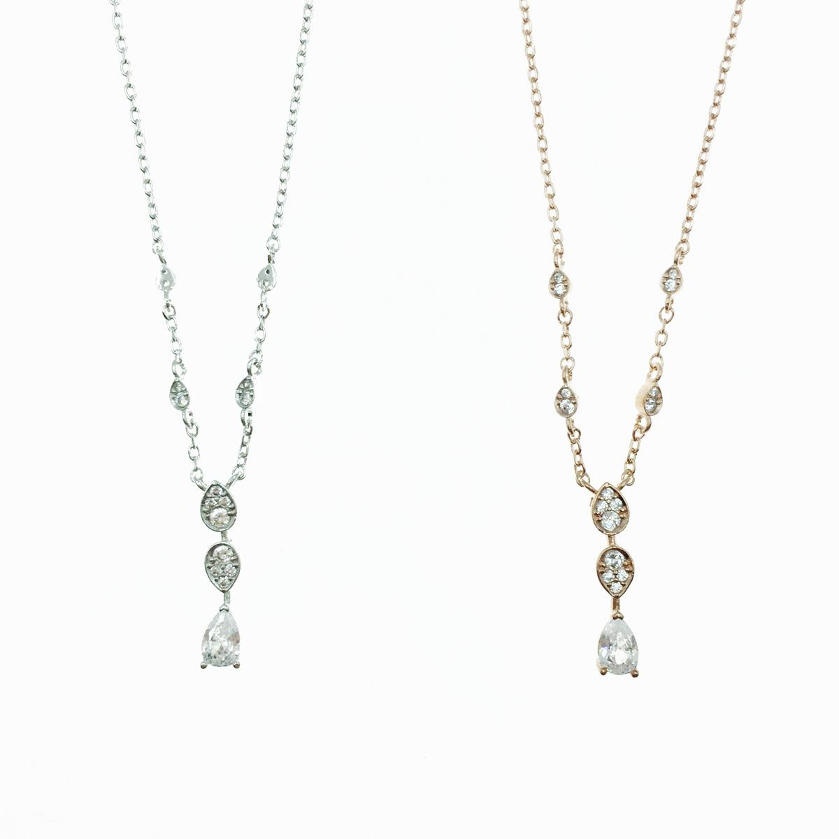 韓國 水滴水鑽 銀 玫瑰金 明星款飾品 項鍊