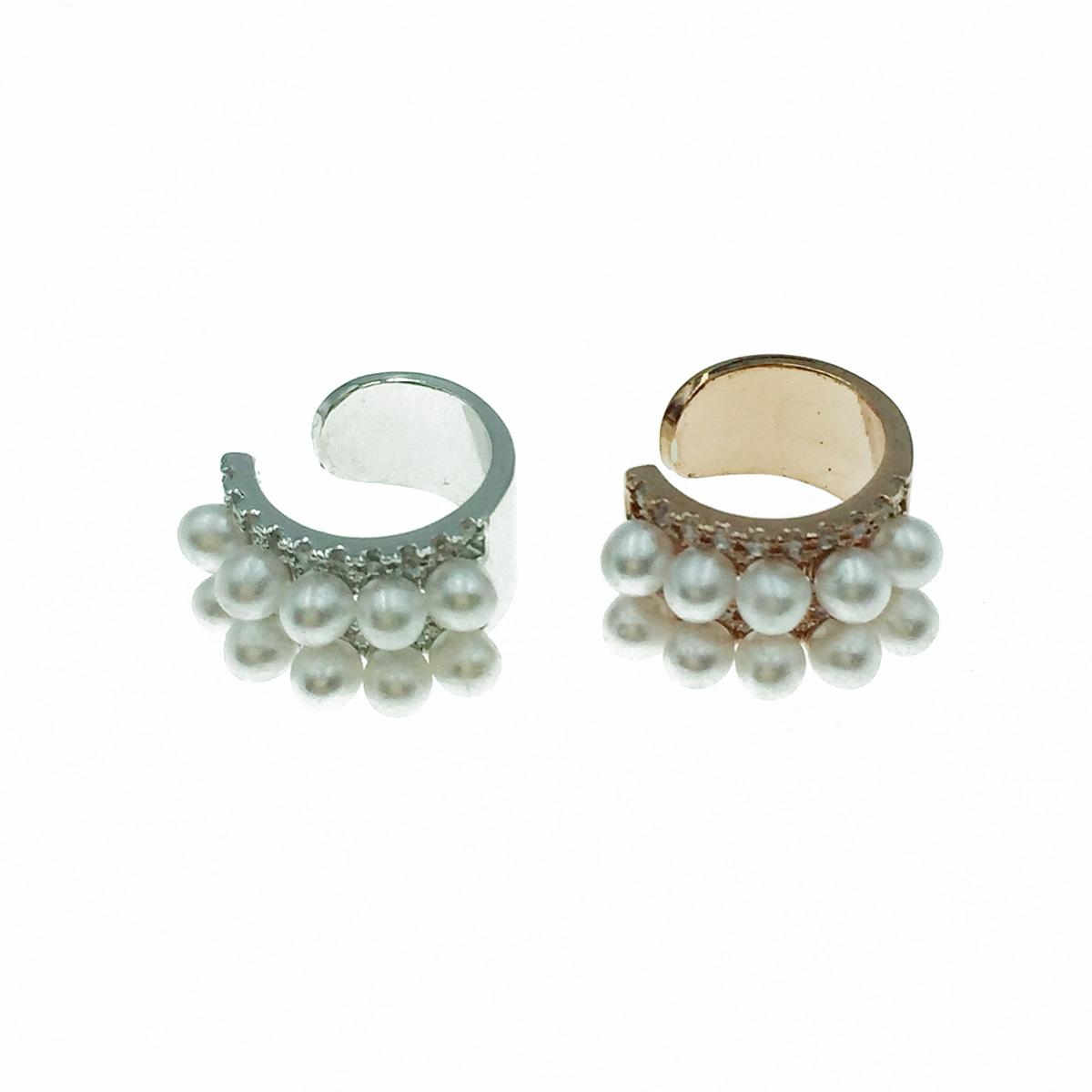 韓國 珍珠 水鑽 銀 玫瑰金 耳骨夾