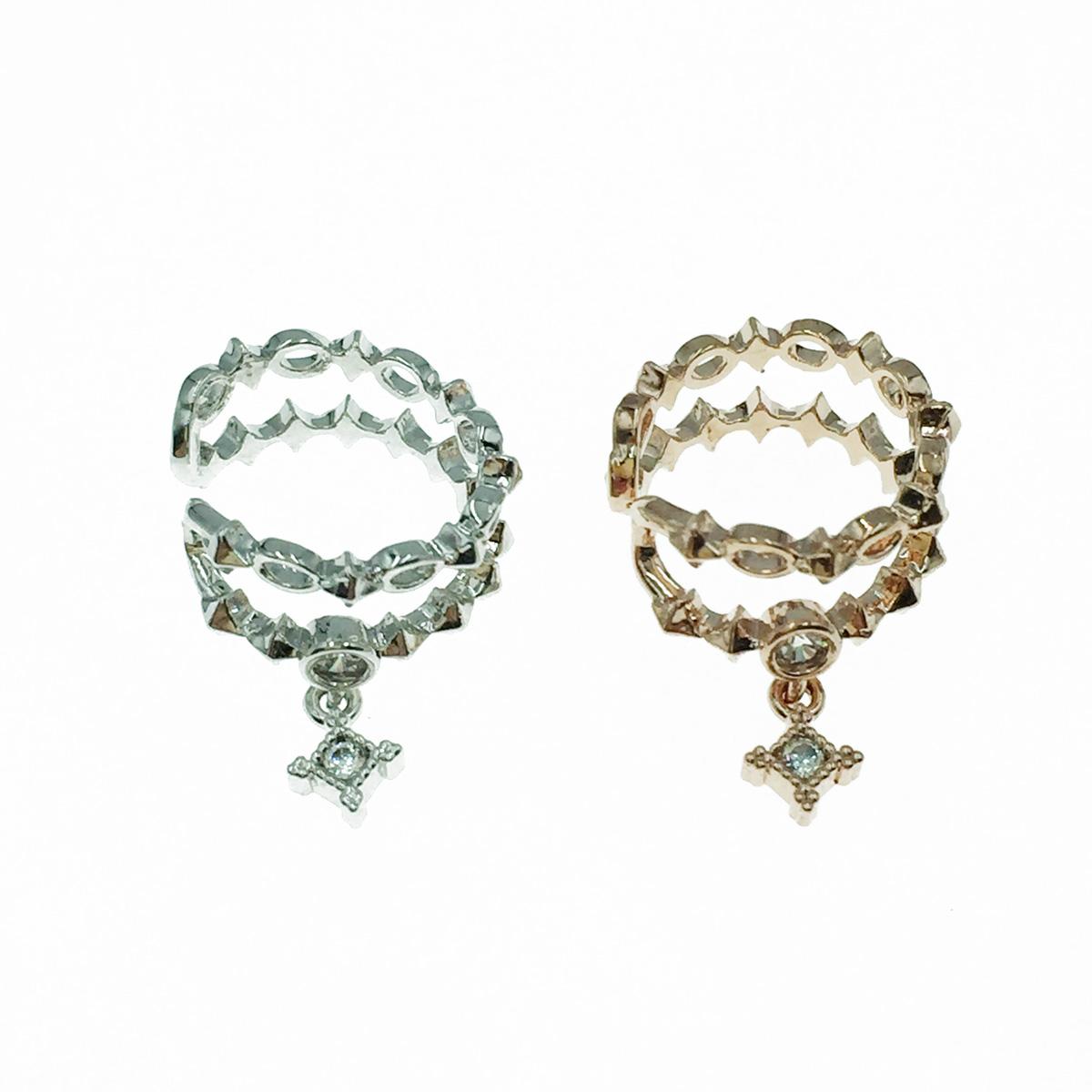 韓國 水鑽 銀 玫瑰金 耳骨夾