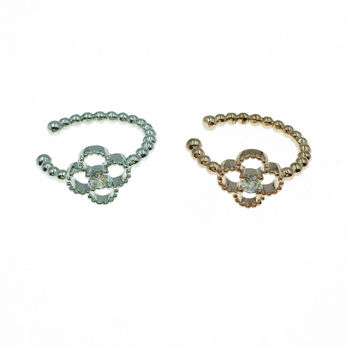 韓國 簍空花 水鑽 銀 玫瑰金 耳骨夾