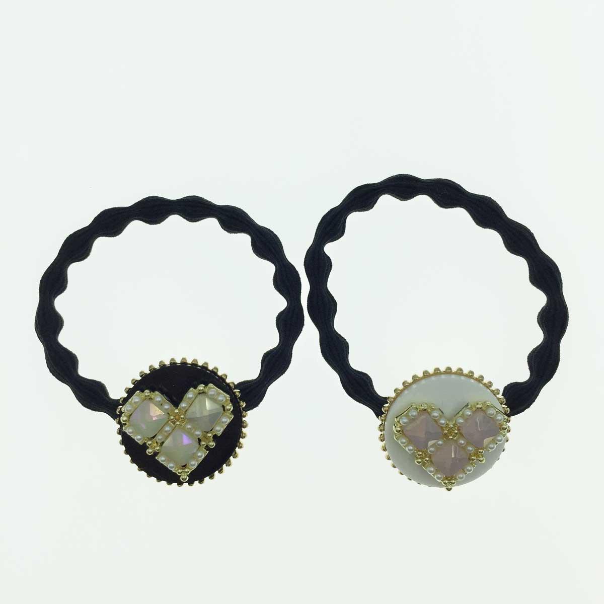 韓國 愛心 珍珠 兩色 髮束