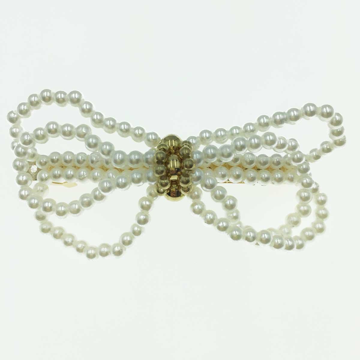 韓國 蝴蝶結 珍珠 雙色  自動夾