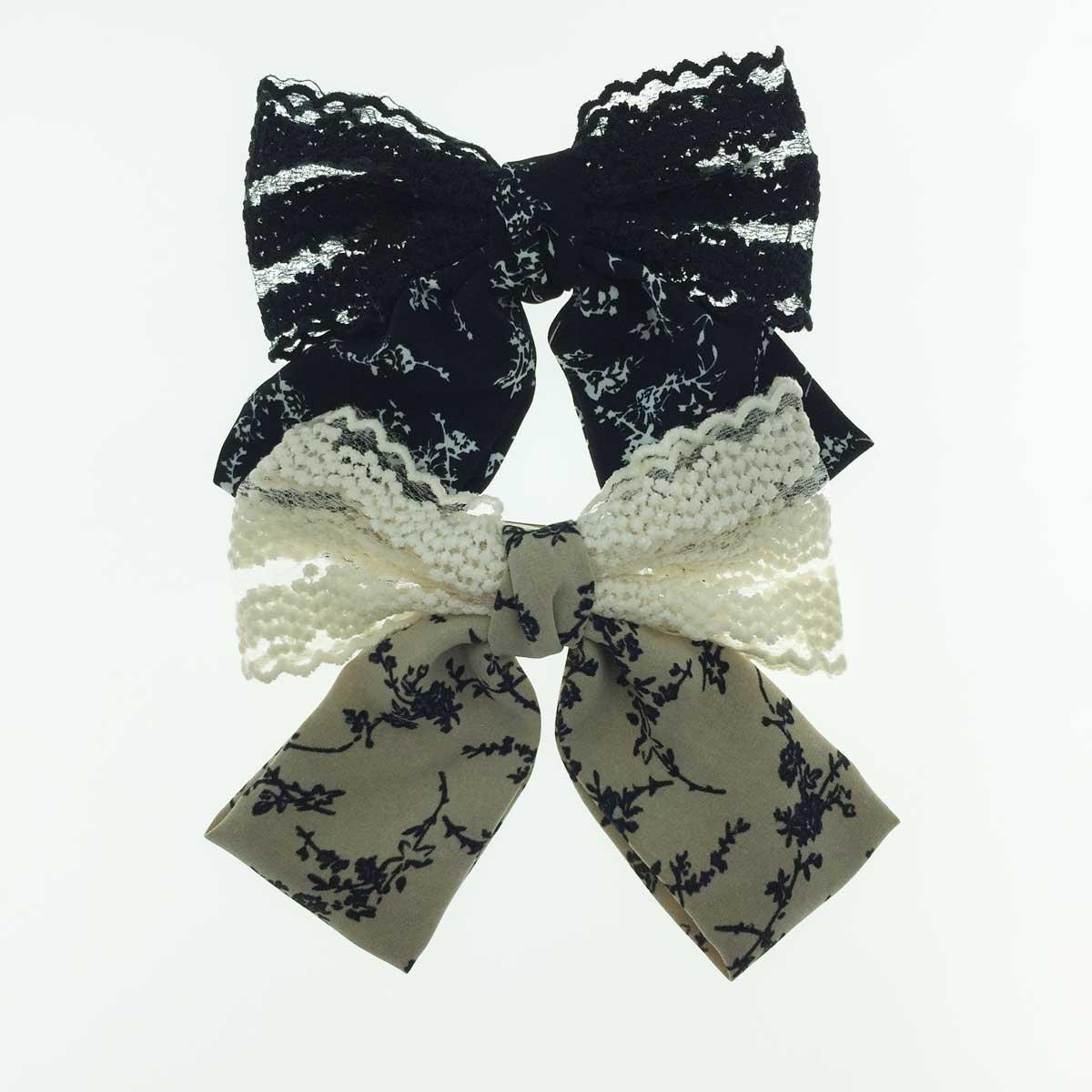 韓國 蕾絲 緞面 蝴蝶結 兩色 自動夾