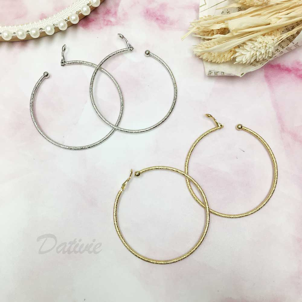 霧面 大C圈 兩色 夾式 耳環