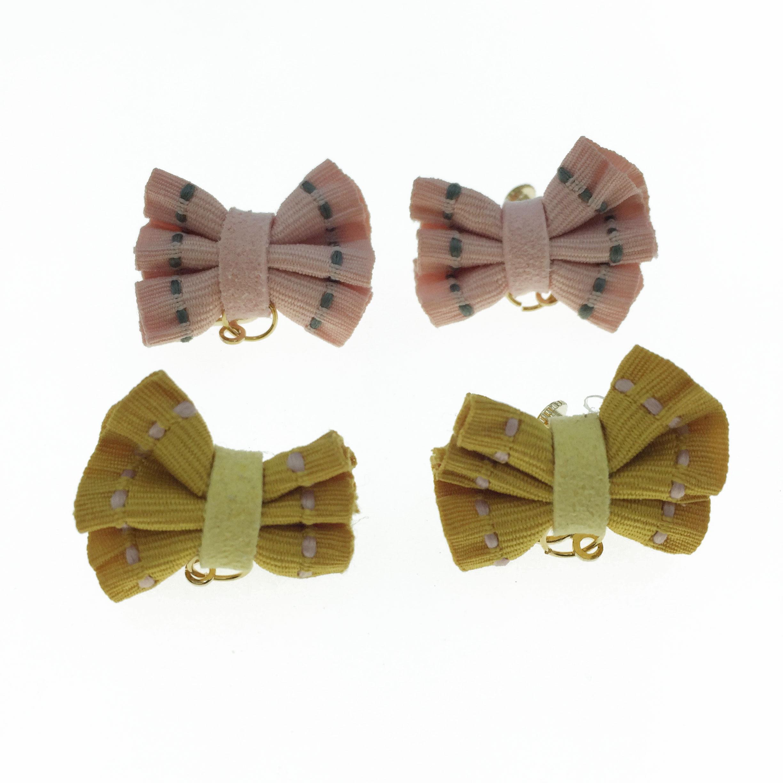 韓國 布質 蝴蝶結 兩色 夾式 耳環