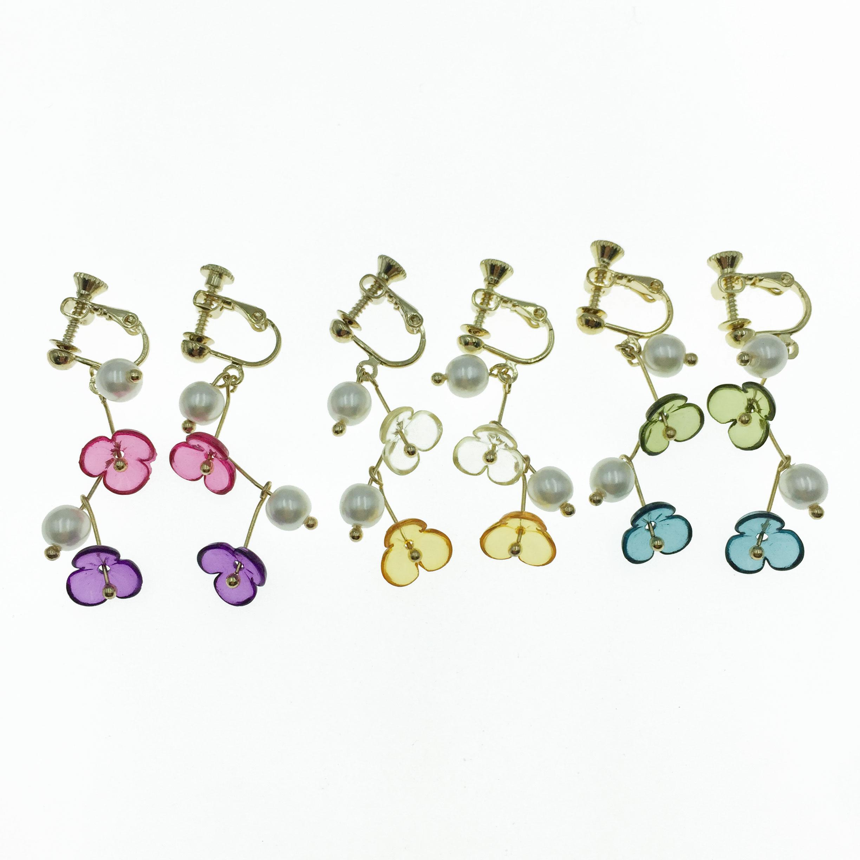 韓國 透明 花朵 三色 垂墜感 夾式 耳環