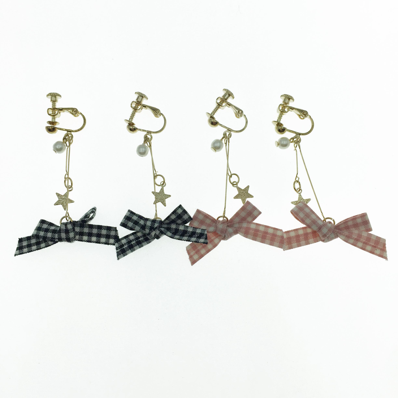 韓國 緞帶 珍珠 格子 蝴蝶結  兩色 垂墜感 夾式 耳環