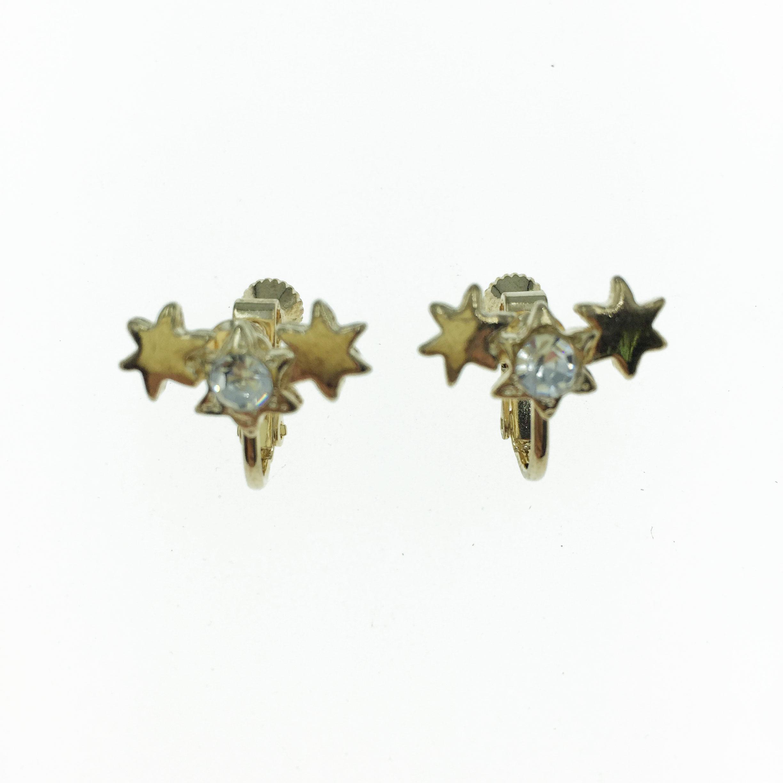 韓國 水鑽  金色 星星  夾式 耳環