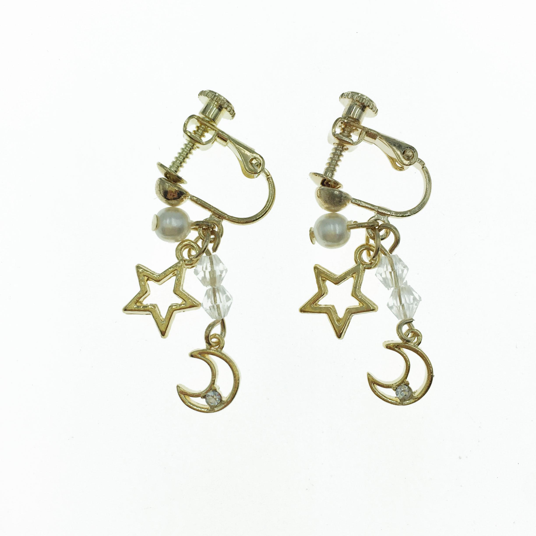 韓國 水晶 珍珠 星星 月亮  垂墜感 夾式 耳環