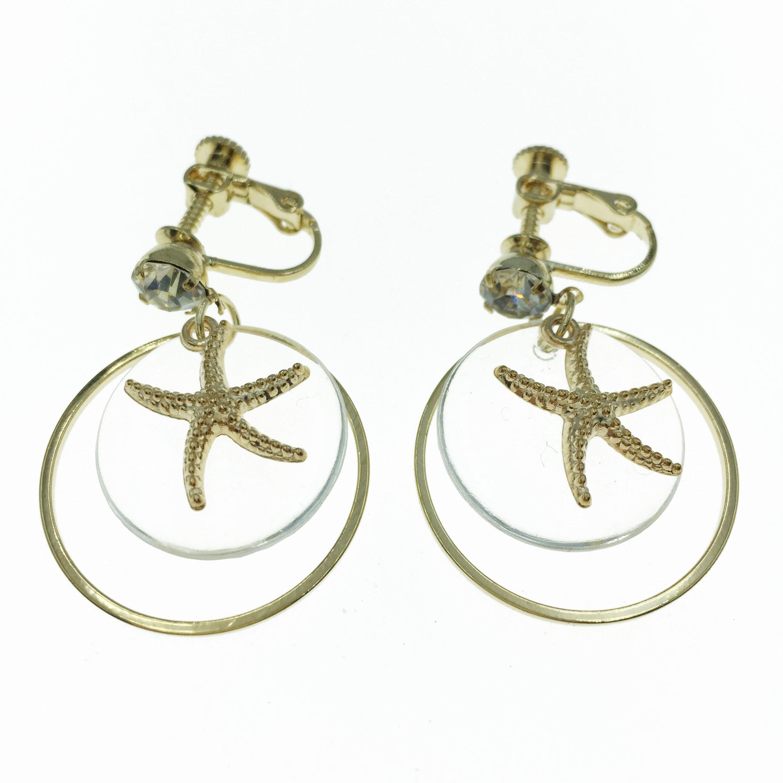 韓國 水鑽 海星 透明圓 垂墜感 夾式 耳環