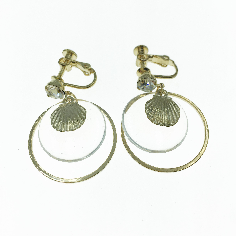韓國 水鑽 貝殼 透明圓 垂墜感 夾式 耳環