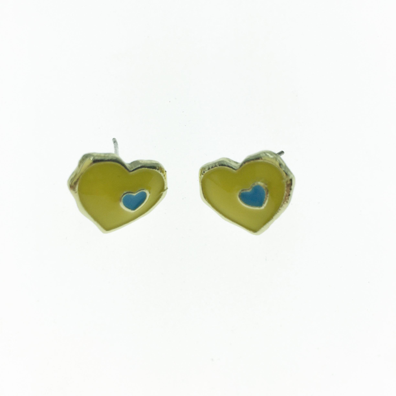 925純銀 黃色 愛心 耳針式耳環