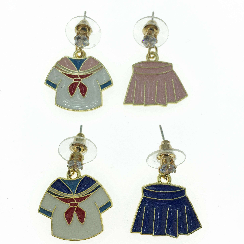 925純銀  海軍服 不對稱 耳針式耳環