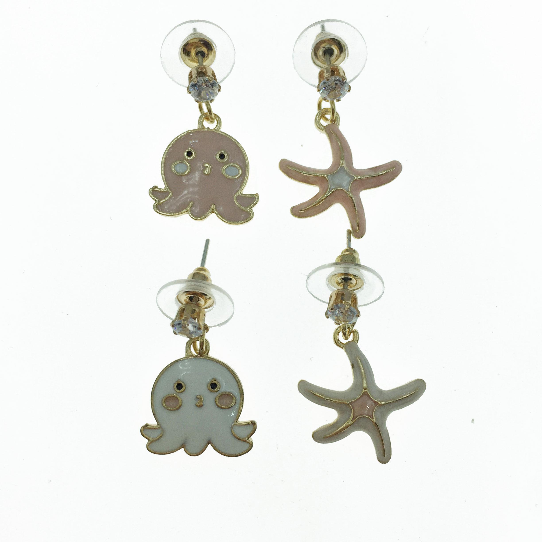 925純銀 章魚 海星 不對稱 耳針式耳環