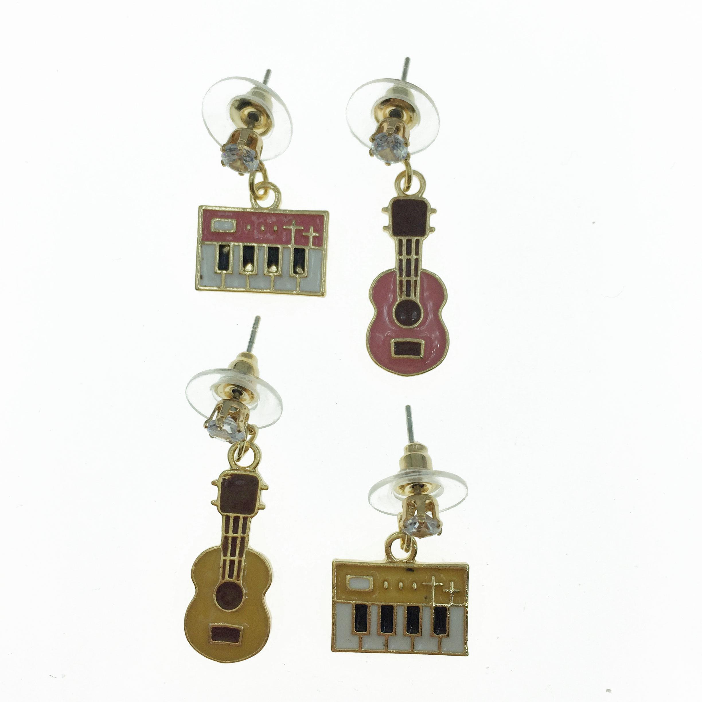 925純銀  吉他 鋼琴 不對稱 耳針式耳環