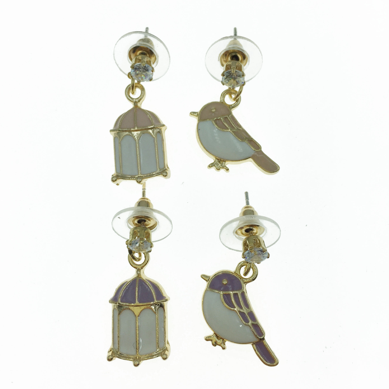 925純銀 鳥籠 鳥 不對稱 耳針式耳環