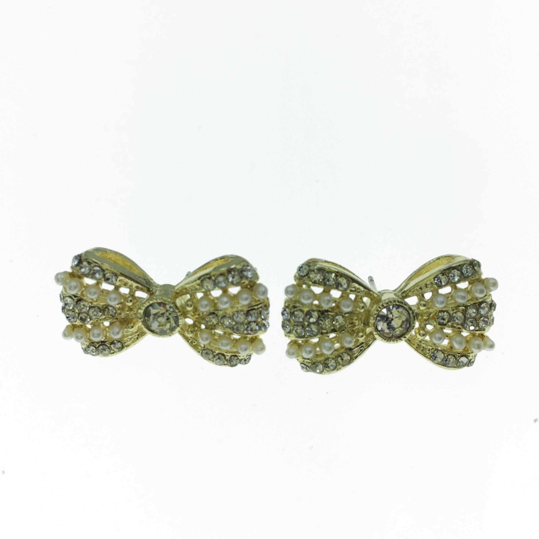 925純銀 水鑽 珍珠 蝴蝶結 造型 耳針式耳環
