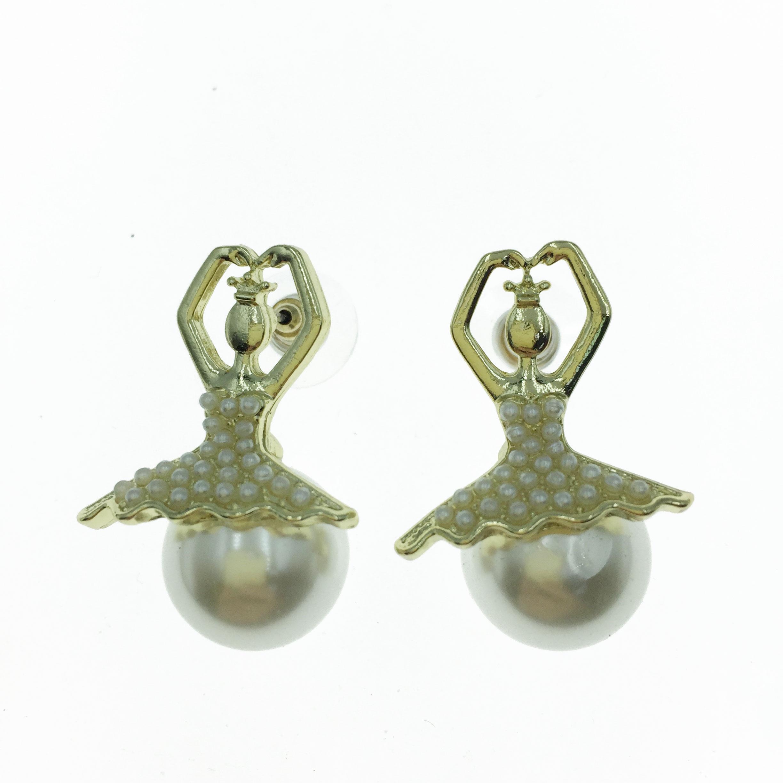 925純銀 珍珠 芭蕾舞 造型 耳針式耳環