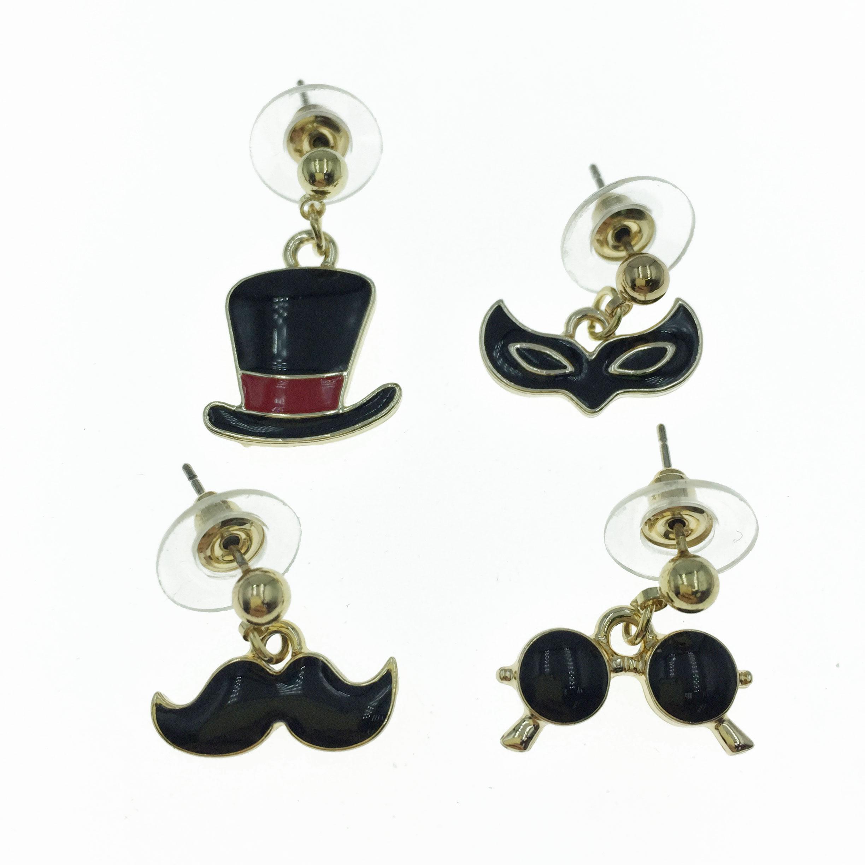 925純銀 高帽 翹鬍子 面具 眼鏡 四入組 耳針式耳環
