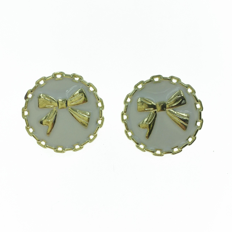 925純銀 金屬 金邊 金色 蝴蝶結 造型 耳針式耳環