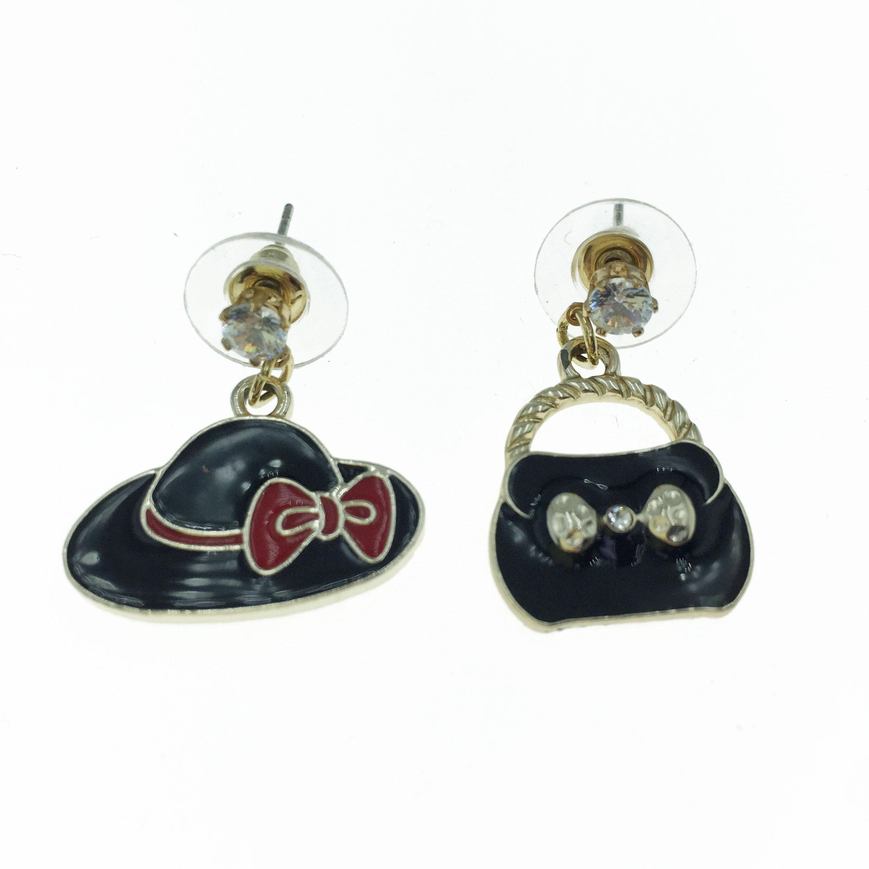 925純銀 帽子 包包 造型 耳針式耳環