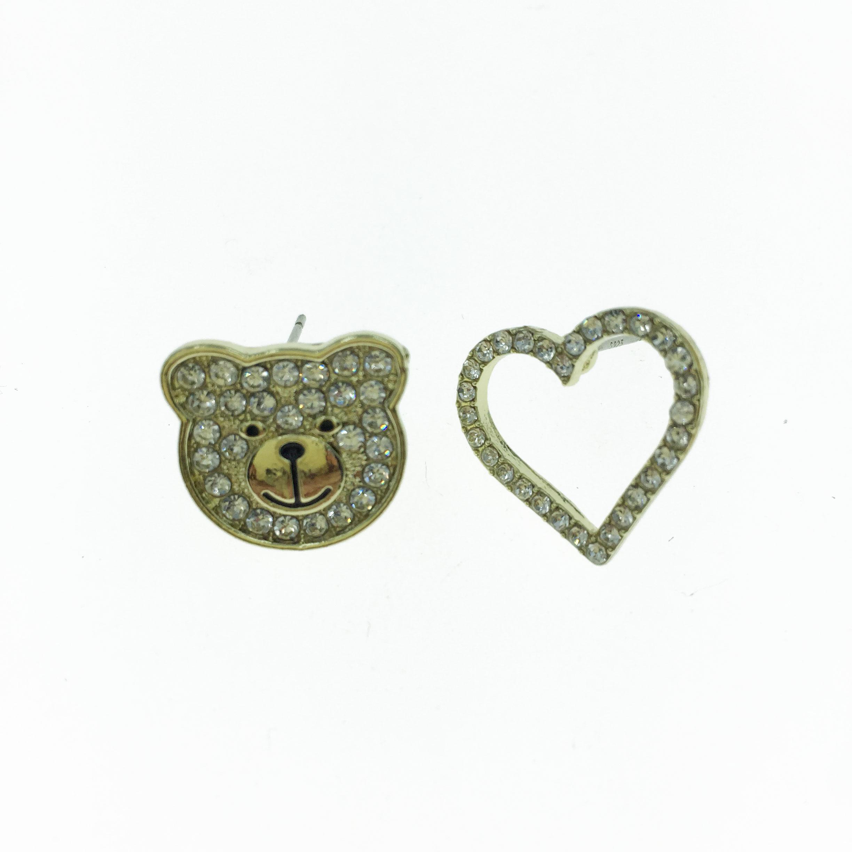 925純銀 水鑽 熊頭 簍空 愛心 造型 耳針式耳環