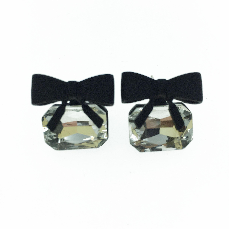 925純銀 蝴蝶結 方鑽 造型 耳針式耳環