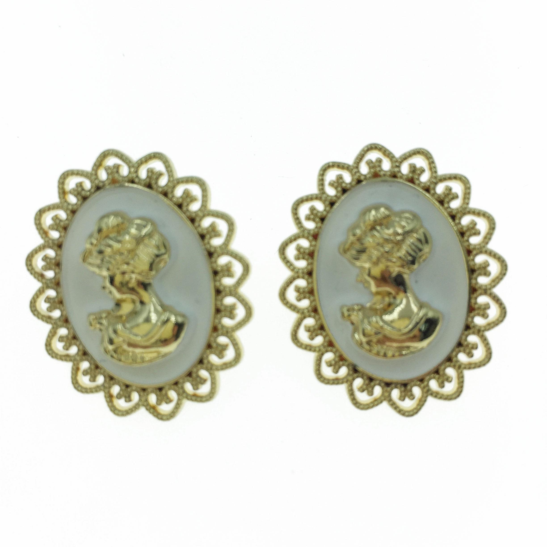 925純銀 金屬 金色 女王頭 造型 耳針式耳環