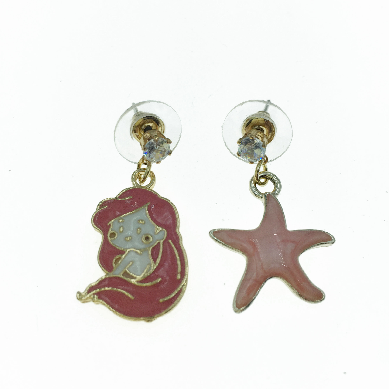 925純銀 美人魚 海星 造型 耳針式耳環