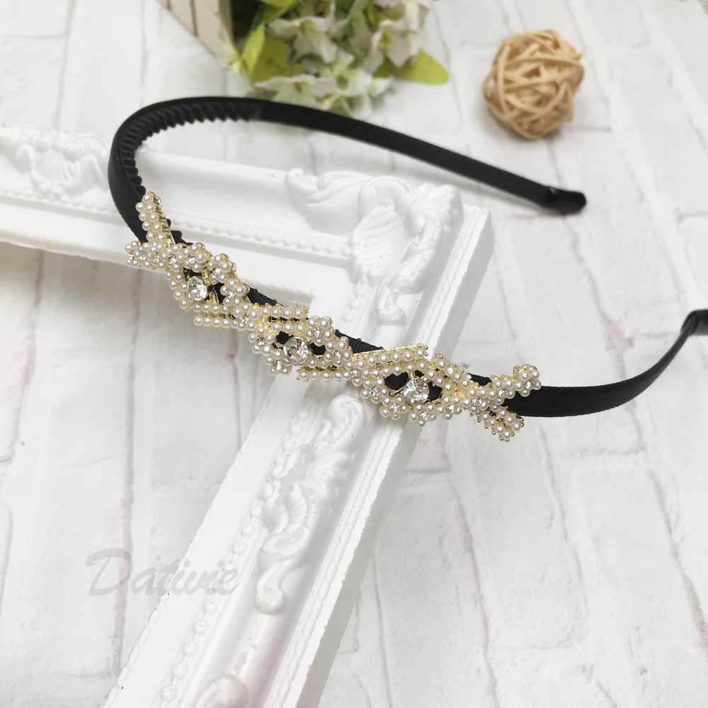 水鑽 珍珠 菱形 造型 髮飾 頭箍