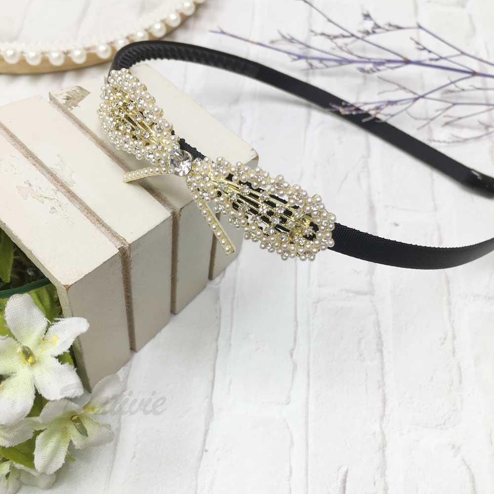 水鑽 珍珠 蝴蝶結 造型 髮飾 髮箍
