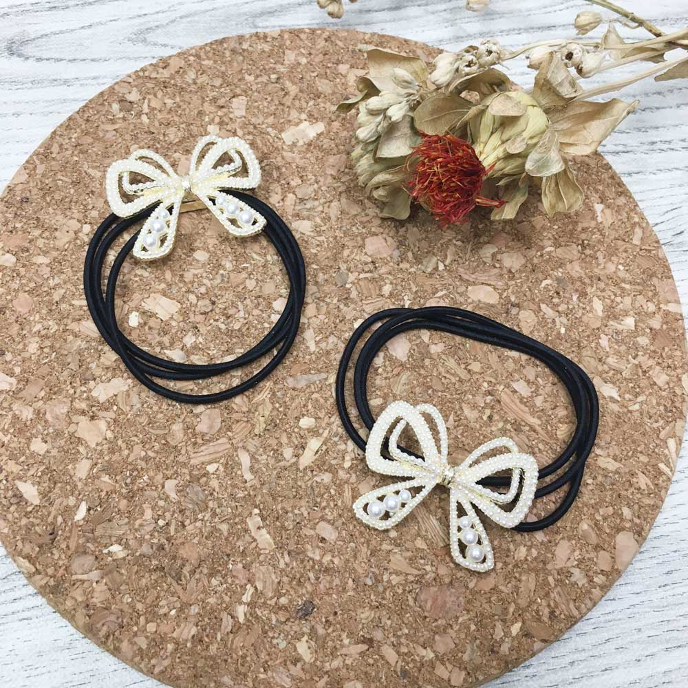 珍珠 簍空 蝴蝶結 造型 髮飾 髮束 2入組