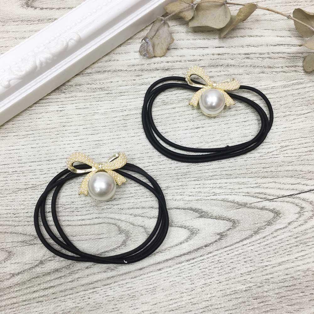 珍珠 蝴蝶結 造型 髮飾 髮束 2入組
