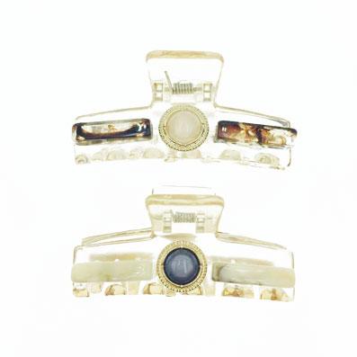 韓國 金屬 珍珠 長形 大理石 透明感 兩色 髮飾 鯊魚夾